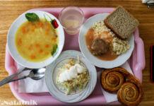 обед, столовая, еда на подносе