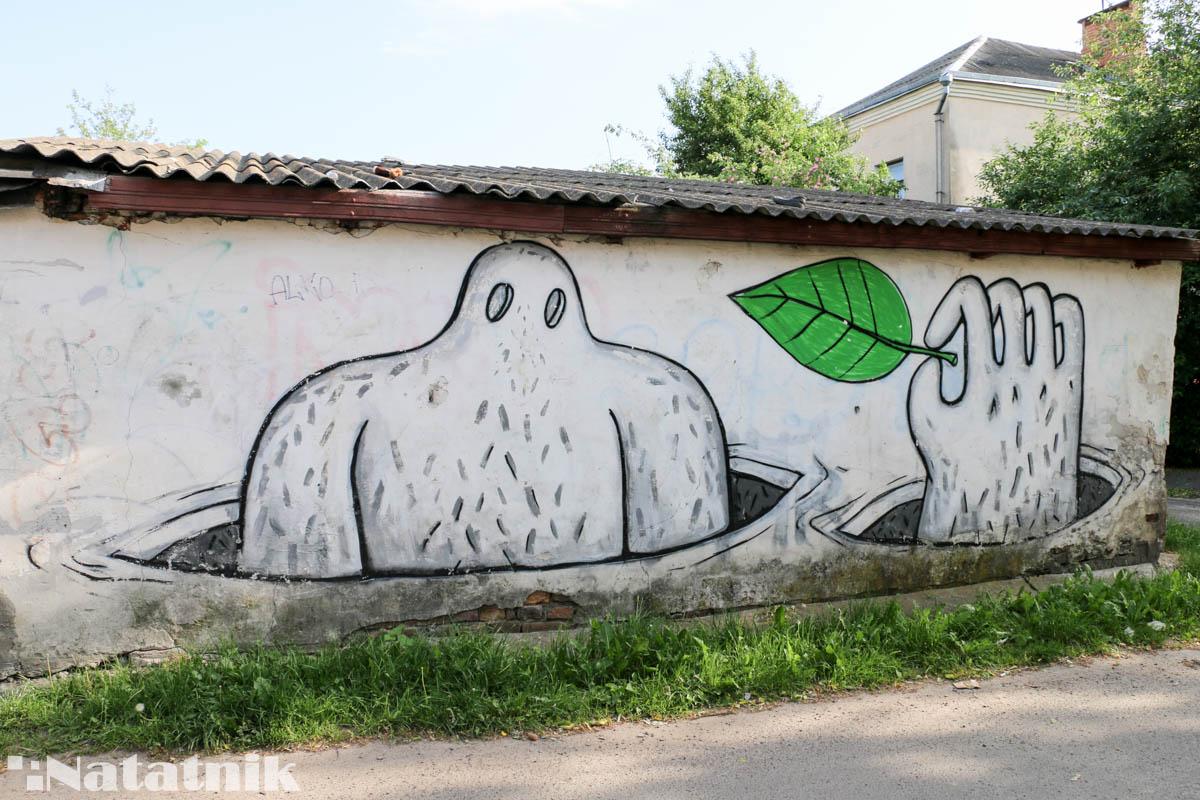 стрит-арт в Бресте, рисунок, стена, предок, природа