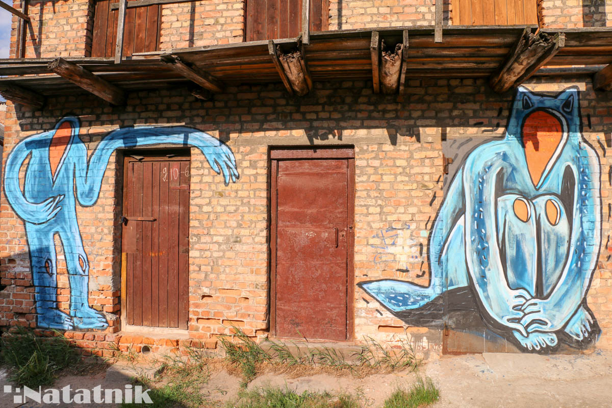 стрит-арт в Бресте, рисунок, стена, предок, сарай, двери, духи