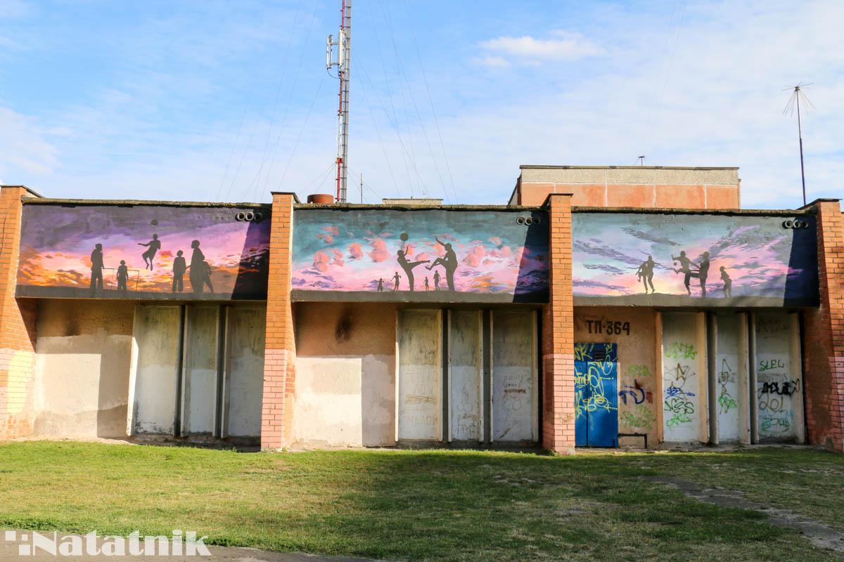 стрит-арт в Бресте, рисунок, стена, котельное хозяйство, спорт, Лёня Василькович
