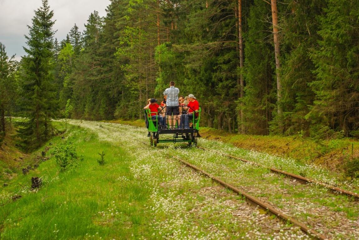 Беловежская пуща, Белавежская пушча, дрезина, железная дорога. Белавежа, Польша
