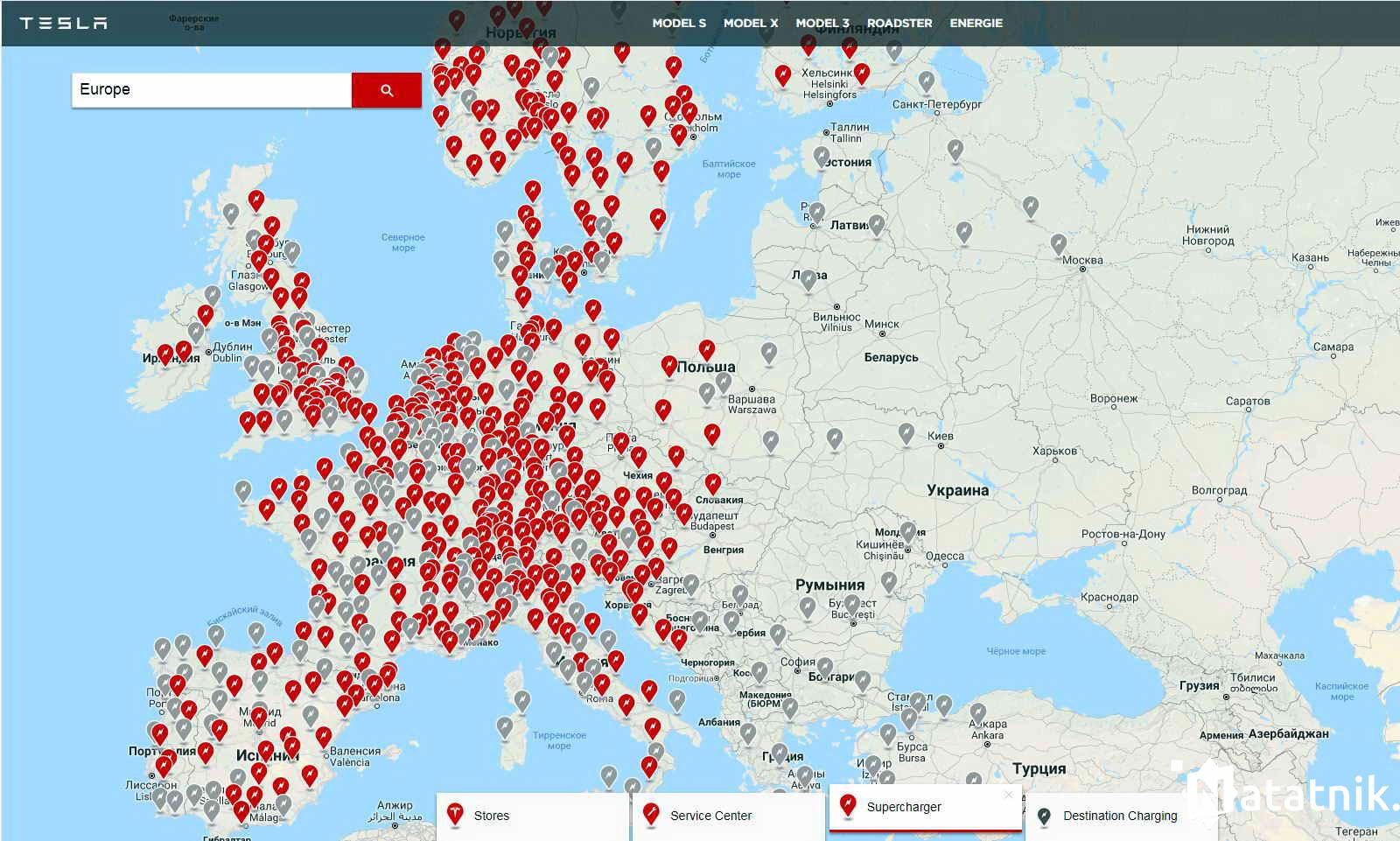 Карта заправок Европы